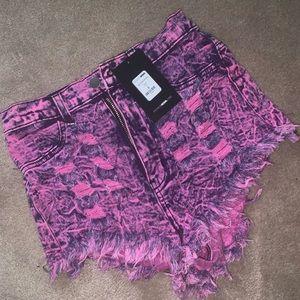 High waisted pink denim booty shorts